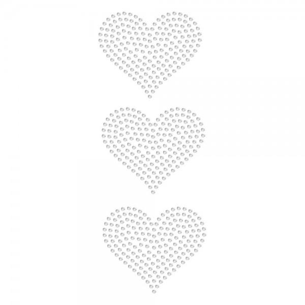Strassmotiv - 3 Herzen je 5 cm