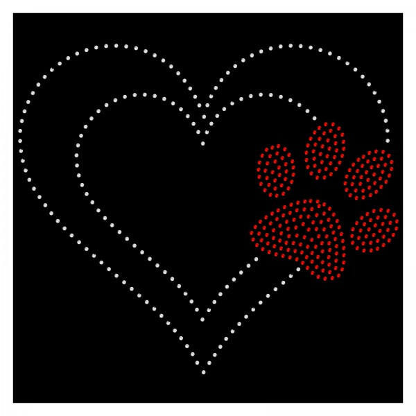Strassmotiv - Herz mit roter Pfote