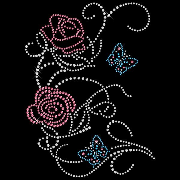 Strassmotiv - Rosenranke mit Schmetterling