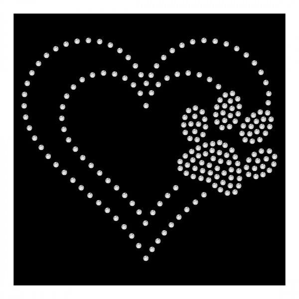 Herz mit crystal Pfote 13 x11 cm