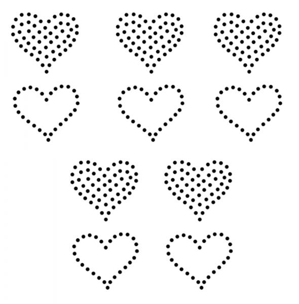 Strass Motiv 10 kleine Herzen zum Aufbügeln Hotfix crystal Strasssteine