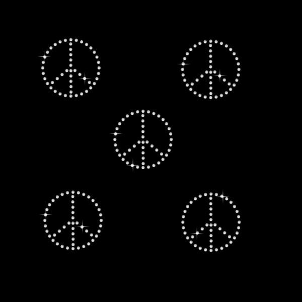 Strassmotiv - 5 x Peace kristallklar 1-reihig 2,7 x 2,7 cm