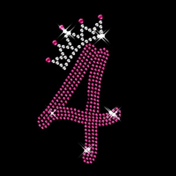 Pink Nummer 4 mit Krone