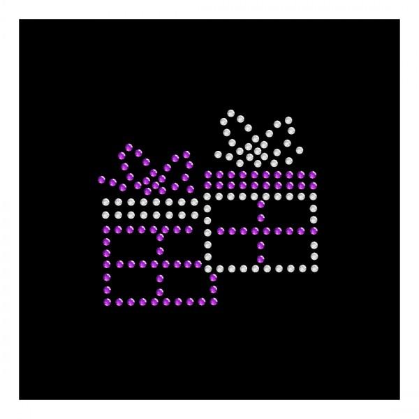 Strassmotiv - 2 Geschenke lila,crystal