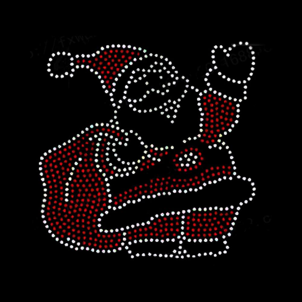 Strasselse Strassmotiv Nikolausm/ütze aus Strass Glitzerbild hotfix Applikation Strassteine Weihnachtsmotiv zum Aufb/ügeln