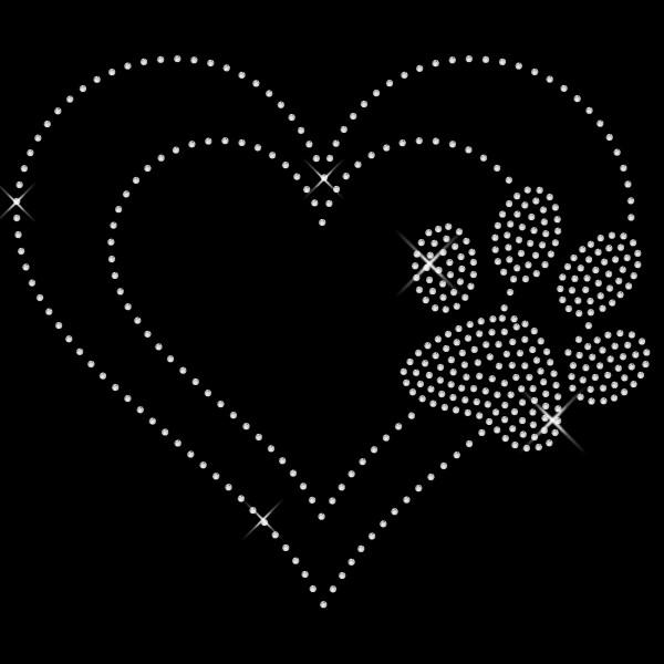 Strassmotiv - Herz mit crystal Pfote